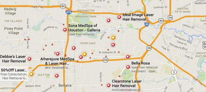 Local google map search for hair removal