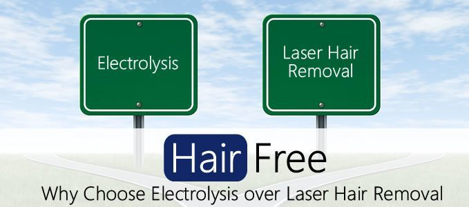 Two signs, one leads to electrolysis and one leads to laser hair removal