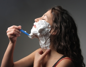 Woman shaving shave face facial shaving