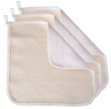Evriholder soft weave home spa exfoliating face and body wash cloths, dual-sided
